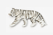 #495P-W - White Tiger Hand Painted Pin