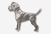 #877B - Border Terrier Antiqued Pewter Pin