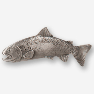 #D11200 - Arched Rainbow Trout (left) Pewter Drawer Pull