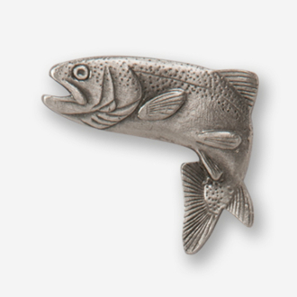 #D12320 - Jumping Rainbow Trout (left) Pewter Drawer Pull