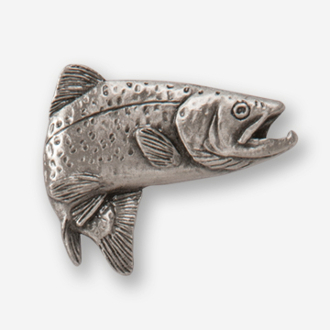 #D12600 - Jumping Brown Trout (right) Pewter Drawer Pull