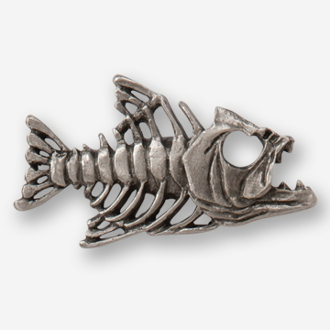 #D17510 - Bony Fish Skeleton (right) Pewter Drawer Pull
