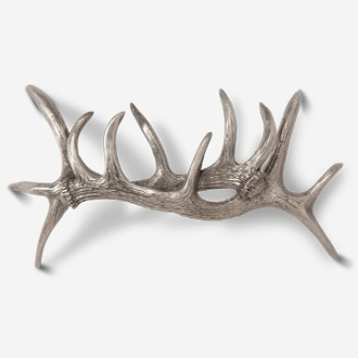 "#D243413 - Elk Antler Pair 5"" (3"" OC) Pewter Drawer Pull"
