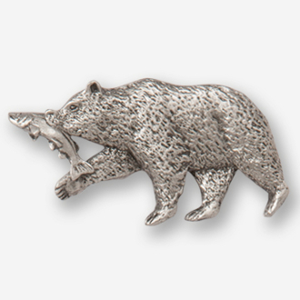 #D42320 - Brown Bear & Salmon (left) Pewter Drawer Pull
