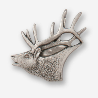 #D43420 - Elk Head (left)  Pewter Drawer Pull