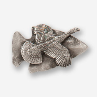 #D73081 - Large Arrowhead & Flying Turkey Pewter Drawer Pull
