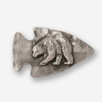 #D74051 - Large Arrowhead & Bear Pewter Drawer Pull