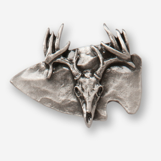 #D74681 - Large Arrowhead & Buck Skull Pewter Drawer Pull