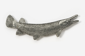 #150 - Alligator Gar Antiqued Pewter Pin