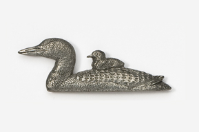 #344 - Loon and Chick Antiqued Pewter Pin