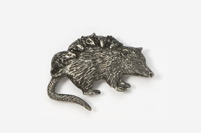 #416A - Opossum Antiqued Pewter Pin