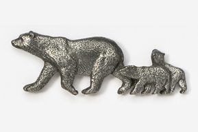 #424A - Polar Bear & Cubs Antiqued Pewter Pin