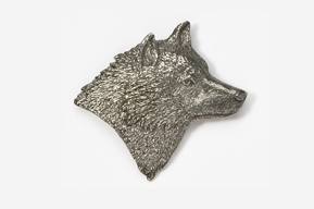 #429 - Right Facing Wolf Head Antiqued Pewter Pin