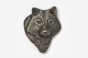 #429A -Front Facing Wolf Head Antiqued Pewter Pin