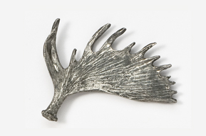 #433A - Moose Antler Antiqued Pewter Pin