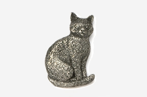 #439 - Sitting Cat Antiqued Pewter Pin