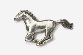 #443 - Galloping Horse Antiqued Pewter Pin