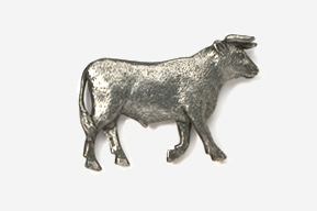 #445A - Bull Antiqued Pewter Pin