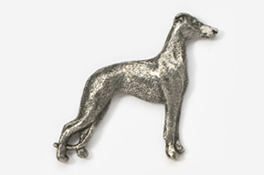#453D - Whippet Antiqued Pewter Pin