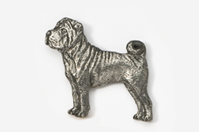 #458A - Shar Pei Antiqued Pewter Pin