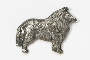 #458C - Collie Antiqued Pewter Pin