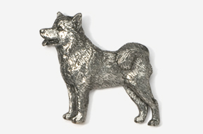 #464D - Malamute Antiqued Pewter Pin
