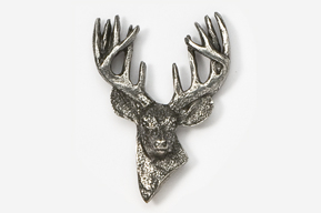 #468B - 12 Point Buck Antiqued Pewter Pin