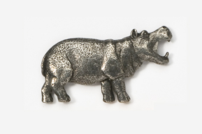 #491 - Hippopotamus Antiqued Pewter Pin