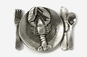 #680H - Lobster Platter Antiqued Pewter Pin