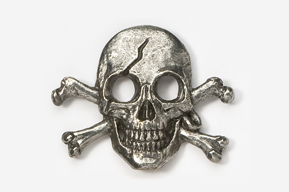 #801 - Skull and Cross Bones / Pirate Skull Antiqued Pewter Pin