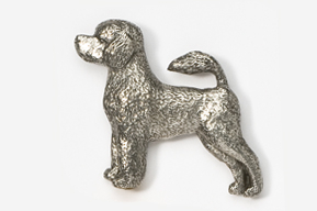 #864 - Portuguese Water Dog Antiqued Pewter Pin