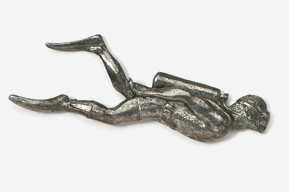 #901 - Scuba Diver Antiqued Pewter Pin