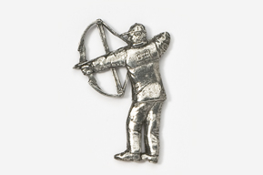 #903 - Compound Bow Hunter Antiqued Pewter Pin