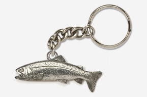 #K112 - Rainbow Trout Antiqued Pewter Keychain