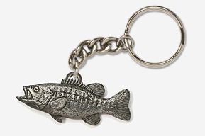 #K121 - Smallmouth Bass Antiqued Pewter Keychain