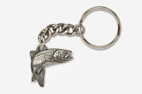 #K123 - Jumping Rainbow Trout Antiqued Pewter Keychain