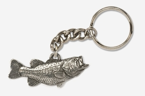 "#K142 - 2"" Right facing Largemouth Bass Antiqued Pewter Keychain"