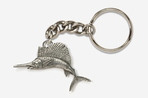 #K201 - Sailfish Antiqued Pewter Keychain