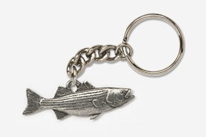 #K207 - Striper / Striped Bass Antiqued Pewter Keychain