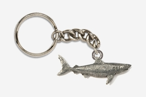 #K250 - Great White Shark Antiqued Pewter Keychain