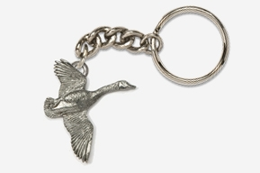 #K320 - Flying Canada Goose Antiqued Pewter Keychain