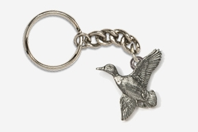 #K321 - Flying Mallard Antiqued Pewter Keychain
