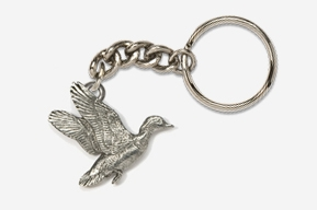 #K322 - Flying Woodduck Antiqued Pewter Keychain