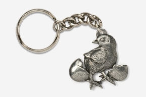 #K382 - Chick and Egg Antiqued Pewter Keychain