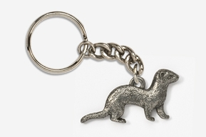 #K414B - Ferret Antiqued Pewter Keychain