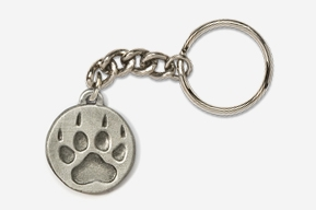 #K418F - Wolf Track Antiqued Pewter Keychain