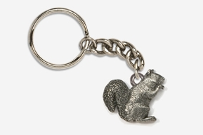 #K419 - Squirrel Antiqued Pewter Keychain