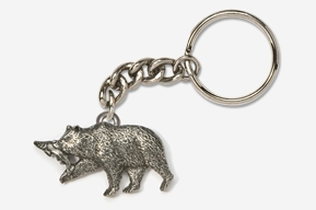 #K423A - Brown Bear & Salmon Antiqued Pewter Keychain