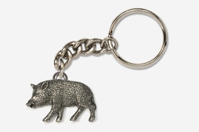 #K425 - Wild Boar Antiqued Pewter Keychain