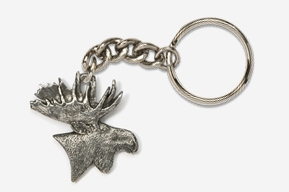 #K433 - Moose Head Antiqued Pewter Keychain